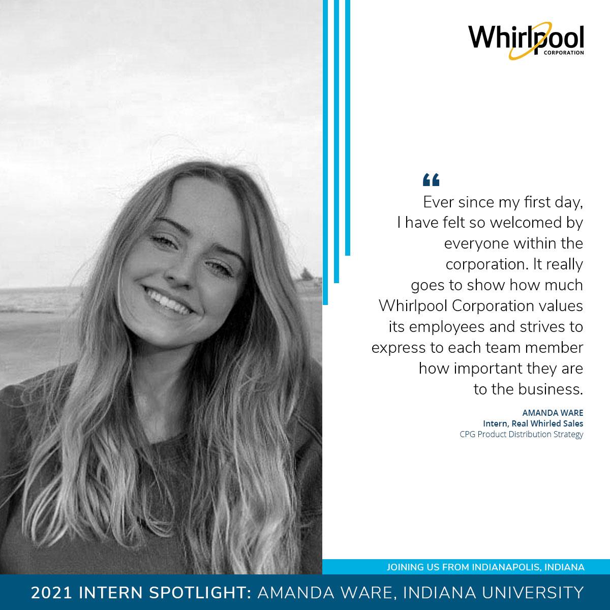 Amanda Ware, 2021 Intern at Whirlpool Corporation from Indiana University