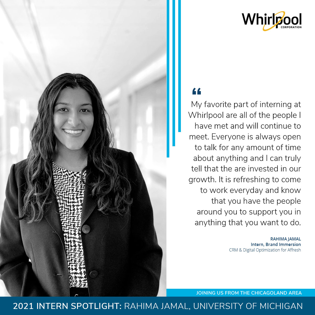2021 Whirlpool Intern Rahima Jamal from University of Michigan