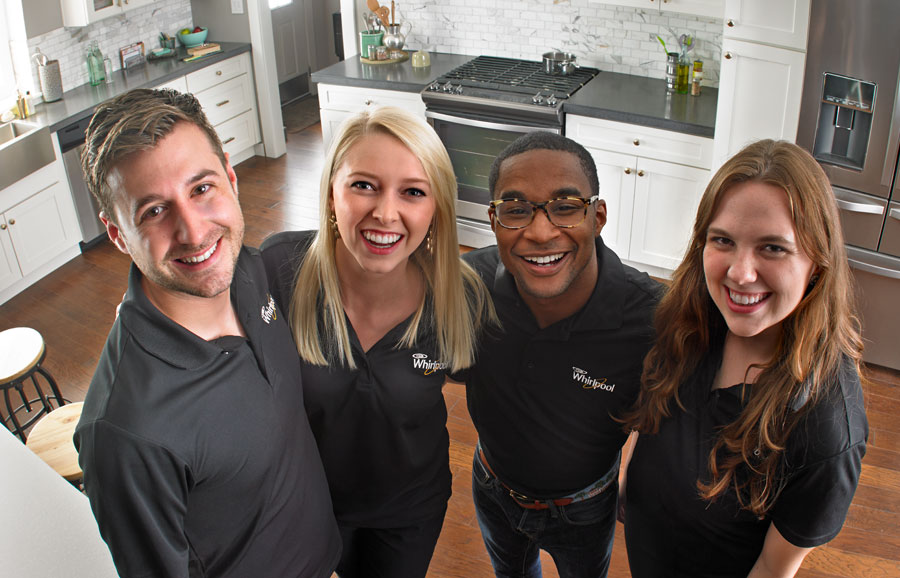 Whirlpool Corp employees from the Real Whirled Program in kitchen